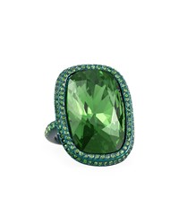 Large Metallic Clad Cocktail Ring Emerald St. John Collection Emeraldcld Dkmssg