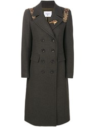 Dondup Embellished Double Breasted Coat Green