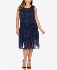 Lucky Brand Trendy Plus Size Fit And Flare Dress Blue