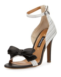 Kay Unger Marlee Striped Leather Bow Sandal Black White