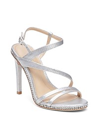 Imagine Vince Camuto Gian Embossed Crystal Trim High Heel Sandals Platinum