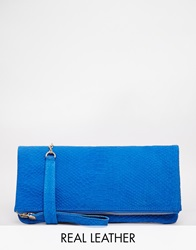 Oasis Leather Foldover Clutch Blue