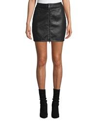 Paige Jamine Zip Front Denim Skirt With Sparkle Coating