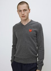 Comme Des Garcons Red Heart V Neck Pullover Grey