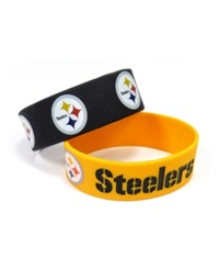Aminco Pittsburgh Steelers 2 Pack Wide Bracelets Team Color