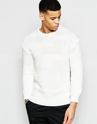 Pull And Bear Pullandbear Jumper With Patchwork Knit In White White