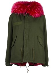Mr And Mrs Italy Fur Trim Hooded Coat Green
