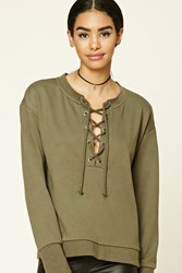 Forever 21 Lace Front Sweatshirt Olive