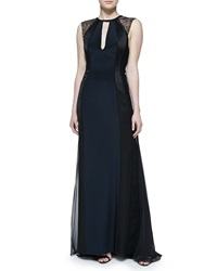 J. Mendel Sleeveless Gown With Lace Shoulders Navy Black