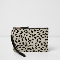 River Island Womens Cream Leopard Print Pony Skin Clutch Bag