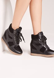 Missguided Chain Detail Hidden Wedge Hi Tops Black Black