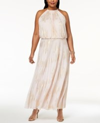 Msk Plus Size Metallic Print Pleated Blouson Halter Gown Blush Gold