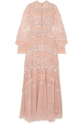 Needle And Thread Ava Lace Trimmed Embellished Tulle Gown Blush