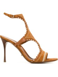 Sergio Rossi Embroidered High Heel Sandals Brown