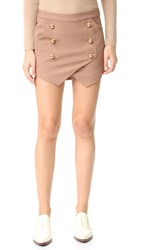 Michelle Mason Military Miniskirt Tan