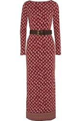 Michael Michael Kors Printed Stretch Jersey Maxi Dress Red