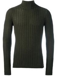 Diesel Black Gold Ribbed Turtleneck Jumper Green