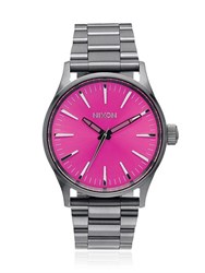 Nixon Sentry 38 Ss Watch With Pink Dial