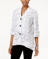 Jm Collection Petite Printed Button Back Shirt Only At Macy's Crinkle Zebra