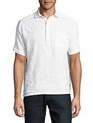 Saks Fifth Avenue Black Solid Linen Polo Shirt White