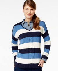 American Living Striped Long Sleeve Sweater Only At Macy's