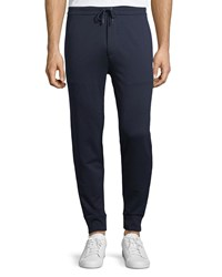 Ralph Lauren Track Jogger Pants With Stripe Trim Navy