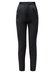 Saint Laurent High Rise Wool Trousers Black