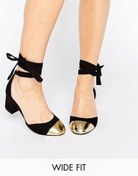 Asos Show Time Wide Fit Ribbon Lace Up Heels Black