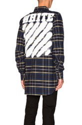 Off White Diagonal Spray Check Shirt In Blue Checkered And Plaid Blue Checkered And Plaid