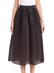 Abs By Allen Schwartz Striped Mesh Midi Skirt Black
