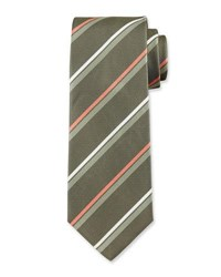Hugo Boss Striped Silk Tie Green Orange White
