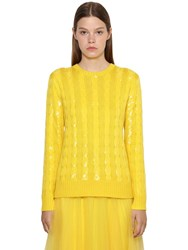 Ralph Lauren Sequined Cable Silk Knit Sweater Yellow
