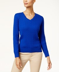 Karen Scott Cotton V Neck Cable Knit Sweater Created For Macy's Bright Blue