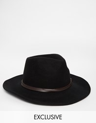 Reclaimed Vintage Wool Fedora With Leather Detail Black