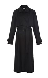 Tome Cotton Lace Up Back Trench Coat Black