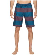 Rvca Civil Stripe Trunk Rosewood Swimwear Red