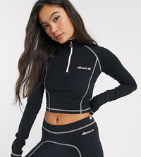 Ellesse Cropped Long Sleeve Top With Half Zip And Contrast Stitching Co Ord Black
