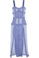 Attico Margarita Ruffled Striped Cotton And Silk Blend Maxi Dress Light Blue