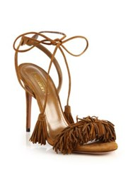Aquazzura Wild Thing Fringe Suede Sandals Red Cognac Black