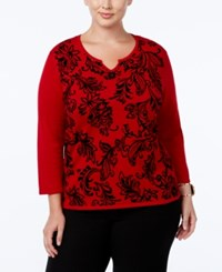Alfred Dunner Plus Size Wrap It Up Collection Flocked Split Neck Sweater Red