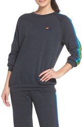 Aviator Nation Stripe Sleeve Sweatshirt Charcoal Green