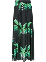 Amir Slama Tropical Print Maxi Skirt Black