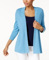 Charter Club Honeycomb Stitch Open Front Cardigan Only At Macy's Smokey Sky