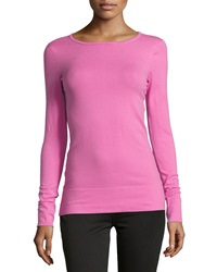 Minnie Rose Long Sleeve Crewneck Tee Fuchsia