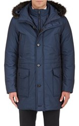 Moorer Men's Fur Trimmed Down Coat Blue