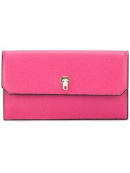 Valextra Continental Clasp Wallet Women Calf Leather One Size Pink Purple