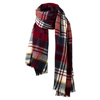 Fat Face Brushed Check Scarf Red