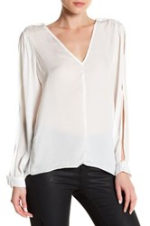 Lucca Couture V Neck Slit Sleeve Low Back Blouse White