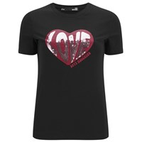 Love Moschino Women's Sequin Heart T Shirt Black