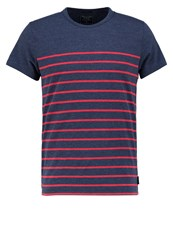 Abercrombie And Fitch Breton Muscle Fit Print Tshirt Navy Red Stripe Dark Blue